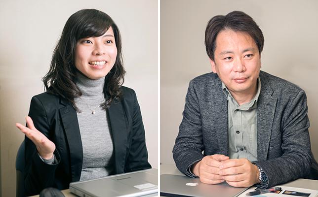 (写真左)マーケティング担当の松本夕弥さん。これまでのピアノの枠を超えるトランスアコースティックピアノに、松本さん自身もワクワクしているそう。(写真右)ヤマハ入社以来、アコースティックピアノに搭載するデジタル技術の開発に携わってきたプロジェクトリーダーの小関信也さん。