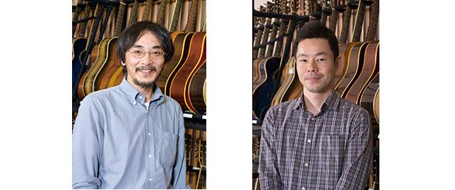 (写真左)ヤマハギターの歴史について豊富な知識を持つ開発の樋口典秀(つねひで)さん。(写真右)FG/FSシリーズの開発を担当する山本真也さん。