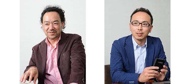 (写真左)サイレントバイオリンの開発を手がけてきた田村晋也さん。(写真右)YSV104の設計を担当した宮﨑交司さん。
