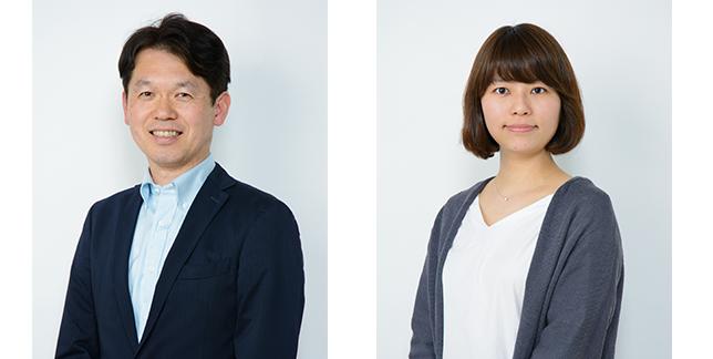 (写真左)開発を担当する野口佳孝さん。(写真右)商品企画を担当する東(ひがし)奈穂さん。